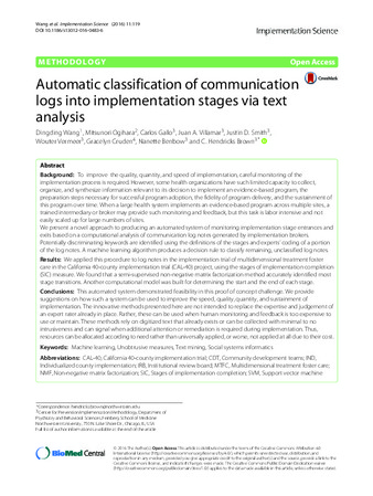 Download the full-sized PDF of Automatic Classification of Communication Logs into Implementation Stages via Text Analysis