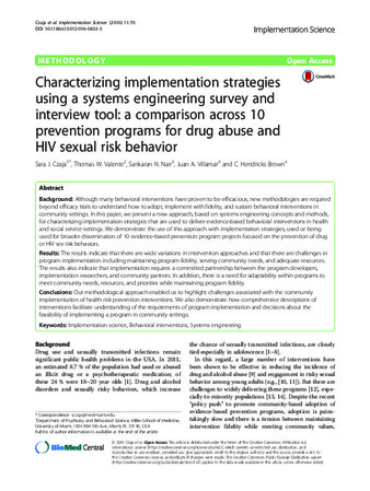 Download the full-sized PDF of Characterizing implementation strategies using a systems engineering survey and interview tool: A comparison across 10 prevention programs for drug abuse and HIV sexual risk behaviors