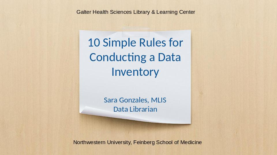 Download the full-sized Document of 10 Simple Rules for Conducting a Data Inventory